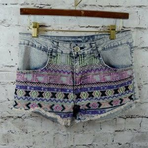 Rue 21 Embroidered Stretch Cut off Jean Shorts